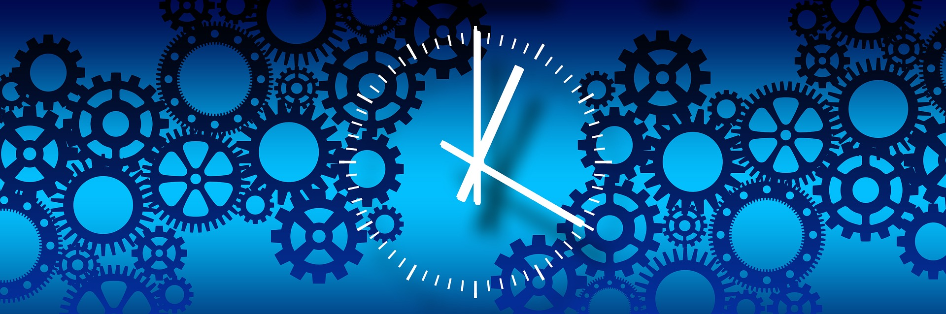 analog clock on blue image of gears