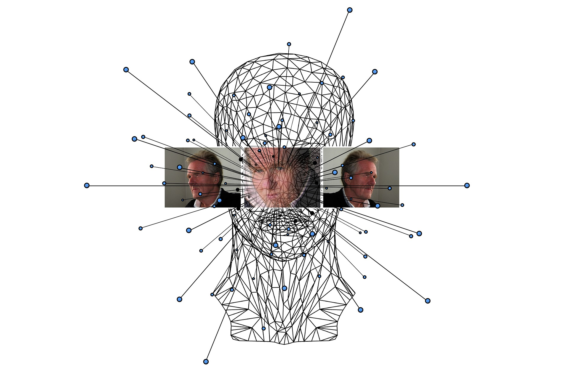 wireframe head with faces superimposed