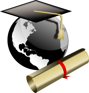 globe with mortarboard and diploma
